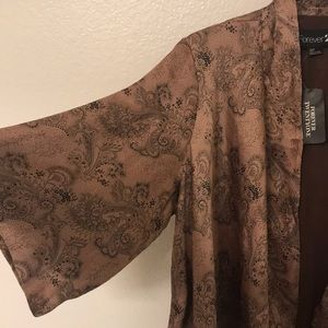 Forever 21 Dusty Pink/Brown Kimono Style Cardigan